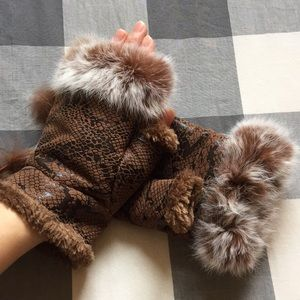 Accessories - Fuzzy Fingerless Mitts REAL Rabbit Fur